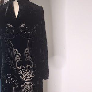 Zara Black Long Silk Velvet Devore Dress